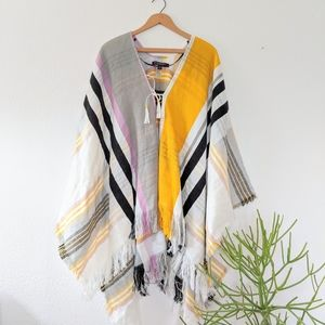Marc New York Striped Knit Poncho Sweater Top - OS